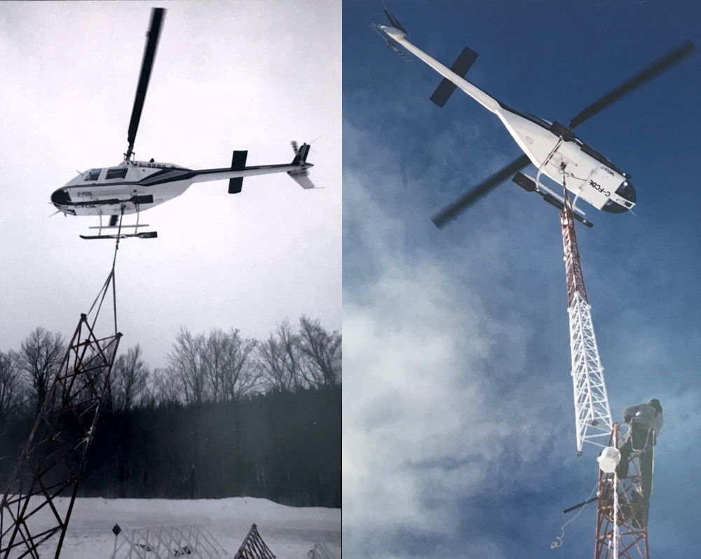 Helicopter Tower Installation, Quebec, Canada during the winter of 1997